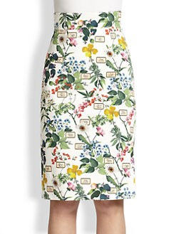 Carolina Herrera - Botanicals Pencil Skirt