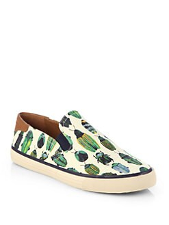 Tory Burch - Miles Bug-Print Canvas Laceless Sneakers