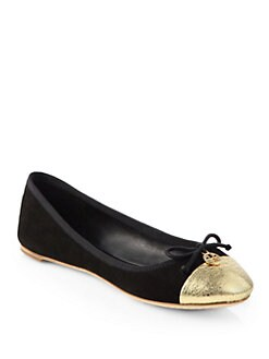 Tory Burch - Crackle Metallic Leather & Suede Ballet Flats