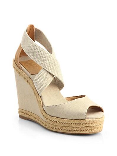 9d6c59dfcf8 Tory Burch Natanya Linen Espadrille Wedge Sandals Natural Gold ...