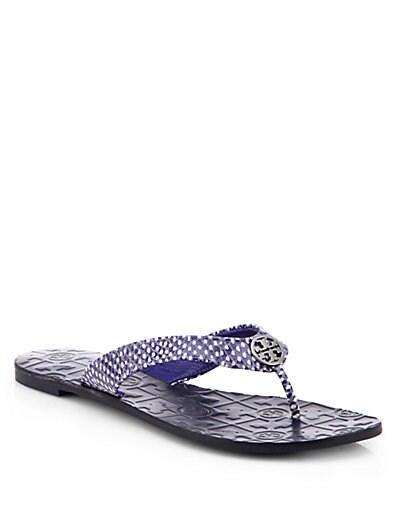 b4f625c4b534 Tory Burch Thora 2 Polka Dot Leather Thong Sandals Ultramarine
