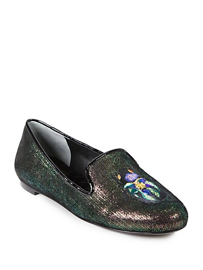 Cailyn Iridescent Leather Smoking Slippers