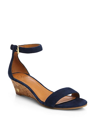 Sale alerts for Tory Burch Savannah Suede Cork Wedge Sandals - Covvet