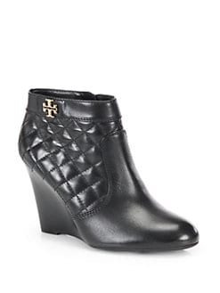 1ba92c207410 Tory Burch Leila Quilted Leather Wedge Ankle Boots