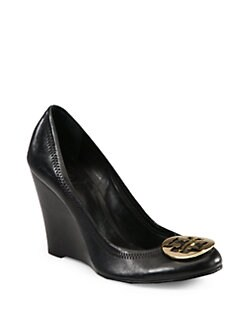 Tory Burch - Sophie Leather Logo Wedge Pumps