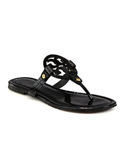 Tory Burch - Miller Patent Leather Logo Thong Sandals