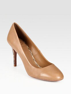 Tory Burch - Mabel Leather Snake Heel Pumps