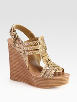 Tory Burch - Leslie Snakeskin Wedge Sandals