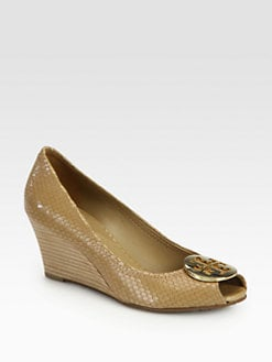 Tory Burch - Sally Snake-Print Leather Wedge Pumps