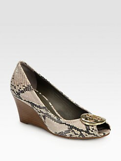 Tory Burch - Sally Python-Print Leather Wedge Pumps