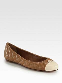 Tory Burch - Kaitlyn Quilted Leather & Patent Ballet Flats