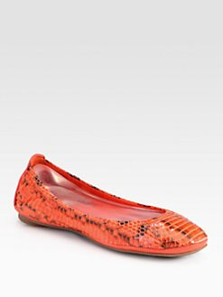 Tory Burch - Eddie Watersnake Leather Ballet Flats