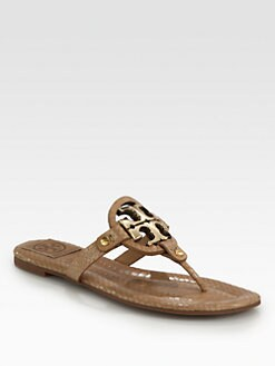 Tory Burch - Miller Snake-Print Leather Thong Sandals
