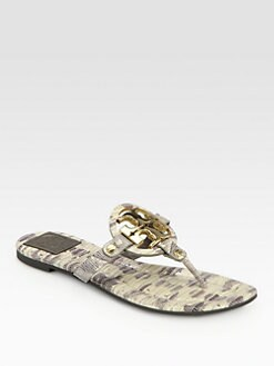 Tory Burch - Miller Lizard-Print Leather Thong Sandals