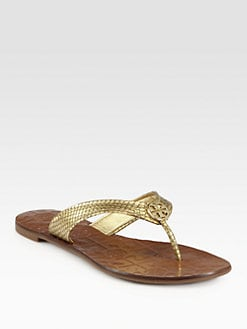 Tory Burch - Thora Metallic Snake-Print Leather Thong Sandals