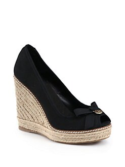 Tory Burch - Jackie Canvas Espadrille Wedges