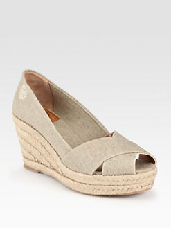 Tory Burch - Filipa Metallic Linen Espadrille Wedge Sandals
