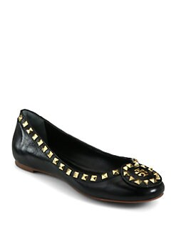 Tory Burch - Dale Studded Leather Ballet Flats