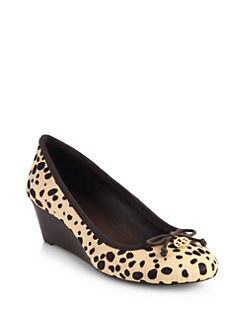 Tory Burch - Chelsea Animal-Print Calf Hair Wedge Pumps