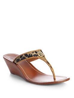 Tory Burch - Cameron Leopard-Print Leather Wedge Sandals
