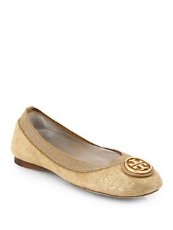 5f357580527b99 Tory Burch Caroline 2 Metallic Suede Ballet Flats