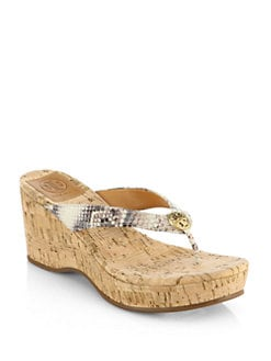 a1d884d704a34d Tory Burch Suzy Snake-Print Leather Wedge Sandals