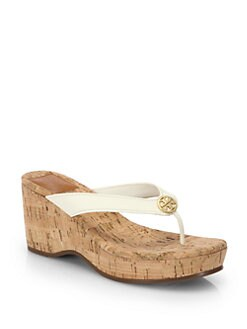 Tory Burch - Suzy Leather Cork Wedge Sandals
