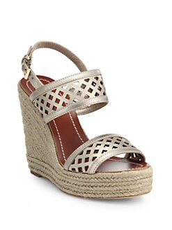 a1e2d4593 Tory Burch Perforated Metallic Leather Espadrille Wedge Sandals