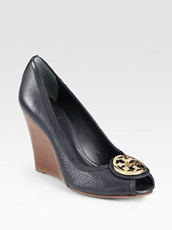 Tory Burch - Selma Leather Logo Wedge Pumps