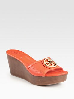 Tory Burch - Selma Leather Logo Wedge Sandals