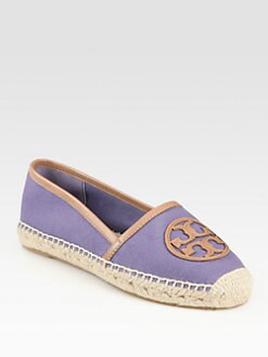 Tory Burch - Angus Canvas & Leather Logo Espadrilles