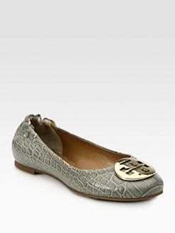 Tory Burch - Reva Dorothy Crocodile-Print Leather Ballet Flats