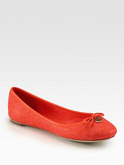 Tory Burch - Chelsea Leather Stitched Logo Ballet Flats