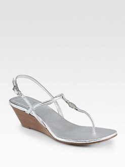 Tory Burch - Emmy Metallic Leather Wedge Sandals