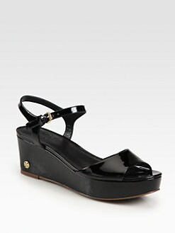 Tory Burch - Abena Patent Leather Wedge Sandals