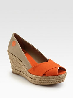 Tory Burch - Filipa Canvas Espadrille Wedges