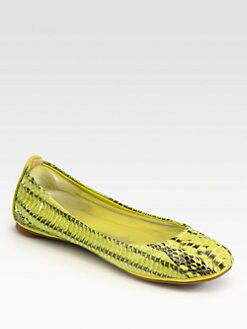 Tory Burch - Eddie Snakeskin Leather-Trimmed Ballet Flats