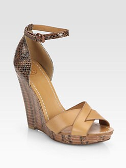 Tory Burch - Livia Snake-Embossed Leather Wedge Sandals