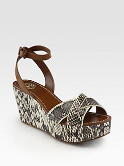 Tory Burch - Cathleen Snakeskin & Leather Wedge Sandals