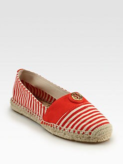 Tory Burch - Beacher Striped Canvas Espadrilles