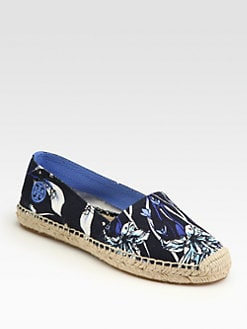 Tory Burch - Cade Floral-Print Canvas Espadrilles