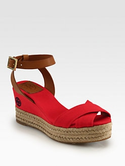 Tory Burch - Karissa Canvas & Leather Espadrille Wedges