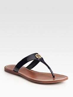 Tory Burch - Cameron Patent Leather Thong Sandals