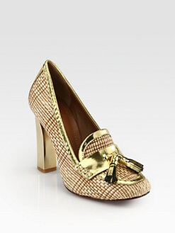Tory Burch - Careen Raffia & Mirror Leather Loafer Pumps