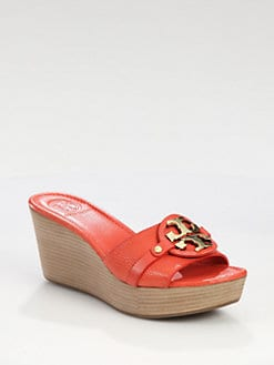 Tory Burch - Patti Leather Wedge Logo Sandals