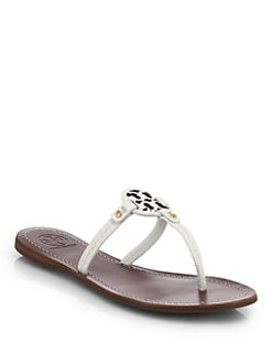ed10827dbe7f3 Tory Burch Mini Miller Snake-Embossed Leather Logo Thong Sandals