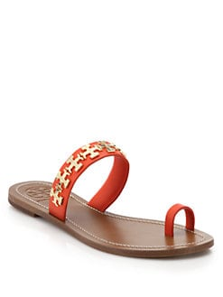 0158211d9e5 Tory Burch Val Metal Logo Flat Leather Sandals