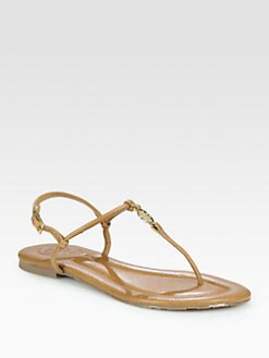 Tory Burch - Emmy Leather Thong Logo Sandals