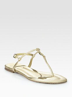Tory Burch - Emmy Metallic Leather Logo Thong Sandals