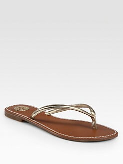 Tory Burch - Abitha Metallic Leather Thong Sandals